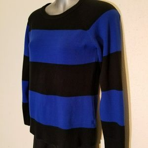 French Connection Blue Black Striped Sweater